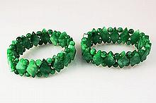 Natural Jade 381.30ctw Stretch Bracelet Lot of 2 - L22008
