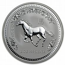 2002 2 oz Silver Lunar Year of the Horse (Series I) - L30263