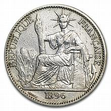 French Indo - China 1896 Silver 50 Cent VF Details - L27785