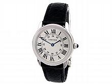 Small Cartier Stainless Steel Ronde Solo Watch. Silver Roman Numeral Dial. Black Leather Strap. Style W6700155. - L29654