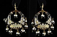 14.04GRAM INDIAN HANMADE LAKH HOOP FASHION EARRING - L19339