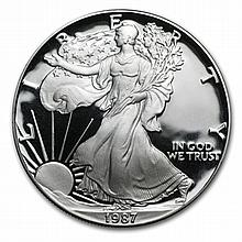 1987-S 1 oz Proof Silver American Eagle (w/Box & CoA) - L29886