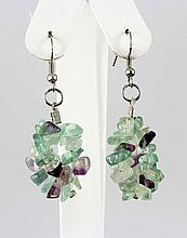 59.80CTW 2in. PURPLE GREEN CHIPPED STONE HOOK EARRING - L19207