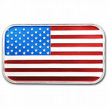 1 oz American Flag Enameled Silver Bar (w/Box & Capsule) - L25507