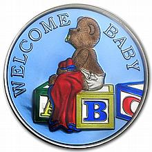 1 oz Welcome Baby Enameled Silver Round - Boy Blue (w/Box & Cap) - L25835