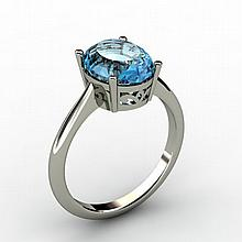 Aqua Marine 2.25 ctw Ring 14kt White Gold - L15273