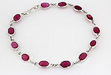 13.78CT Ruby Gemstone in Silver Bezel Bracelet 2.18g - L20357