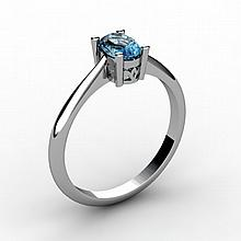 Aqua Marine 0.40 ctw Ring 14kt White Gold - L15225
