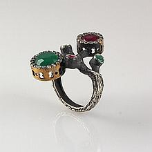 Natural Stone Cocktail Victorian Design Ring - L23151
