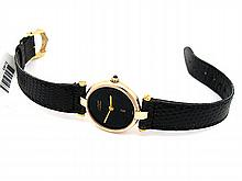 Lady's Cartier Argent Yellow Gold Must 21 Watch. Black Dial. Black Leather Band. - L29659