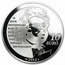2012 10 Euro Silver Proof Heroes of French Literature -d'Artagnan - L27216