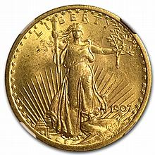 1907 $20 St. Gaudens Gold Double Eagle - MS-62 NGC - L30974