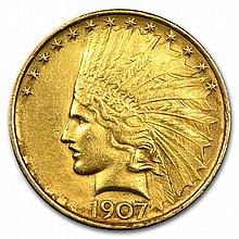 1907 $10 Indian Gold Eagle - Cleaned - First Year of Issue! - L26661