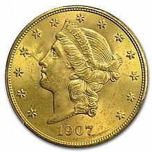 1907 $20 Gold Liberty Double Eagle - MS-63 PCGS - L29970