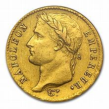 France 1809-1814 20 Francs Gold Napoleon AU - L30749