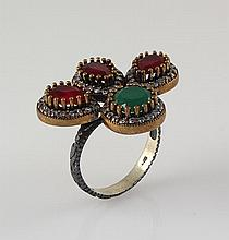 Natural Stone Cocktail Victorian Design Ring - L23157