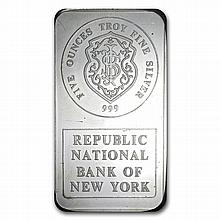 5 oz Johnson Matthey Silver Bar (Republic National Bank of NY) - L25492