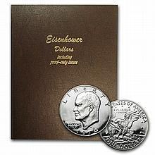 Complete Eisenhower Dollar Set In - Dansco Album - 32 Coins - L30108