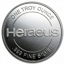 1 oz Heraeus Silver Round .999 Fine - L28211