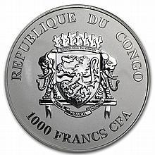 Congo Republic 2013 Silver Proof Black Beauties - Black Leopard - L27555