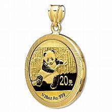 2014 1/20 oz Gold Panda Pendant (Diamond-Prong Bezel) - L26110