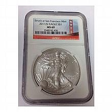 2011 (S) Silver Eagle (NGC MS-69) San Francisco, Early Releases - L22504