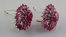 55.45CTW Pretty Pink Ruby Stone in Silver Earring - L19131
