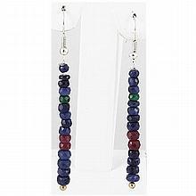 22.30ct Single Line Multi-Color Silver Hook Earring - L15729