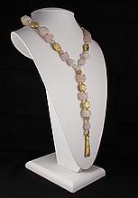 Natural Stone Chunky Raw Rose Quartz Necklace - L23281
