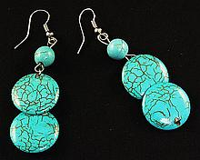 NATURAL 41.94CTW TURQUOISE DANGLING SILVER EARRING - L22333