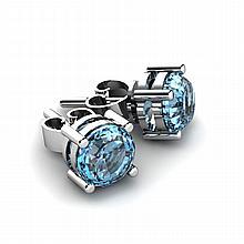 Aqua Marine 0.90ctw Earring 14kt White Gold - L10880