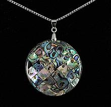 Natural 51.00ctw Mother Of Pearl Silver Pendant - L18947