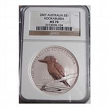 2007 1 oz Silver Australian Kookaburra - MS-70 NGC - L25052