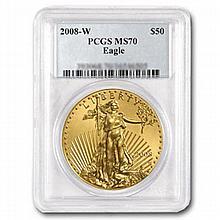 2008-W 1 oz Burnished Gold American Eagle MS-70 PCGS - L22449