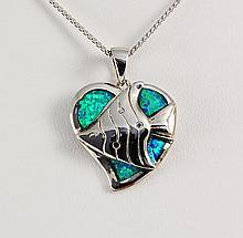 Natural Stone Opal Heart Design Pendant - L23044