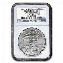 2013 (S) Silver American Eagle MS-70 NGC (Early Releases) - L22520