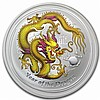 2012 1 oz Silver Year of the Dragon Yellow Colorized Coin - L25010
