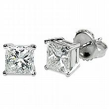 0.66 ctw Princess cut Diamond Stud Earrings G-H, VVS - L11371