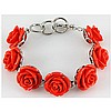 34.42g Pinky Rose Sea Coral Sterling Silver Bracelet - L15516