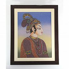 Traditional King Gemstone Painting w/ Frame - L10876