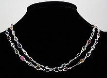 44.31CT Multi Precious Gemstone Silver Bezel Necklace 13.51g - L20350