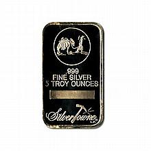 Silver Bars: Random Manufacturer 5 oz Bar .999 fine - L18015