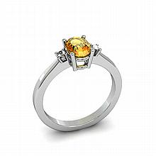 Citrine 0.45ctw Ring 14kt White Gold - L11023