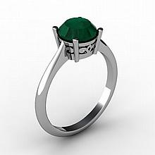 Emerald 1.70 ctw Ring 14kt White Gold - L15188