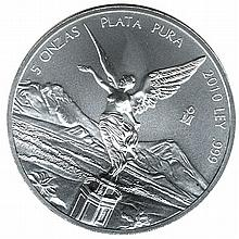 Mexican Silver Libertad 5 Ounce 2010 - L21589