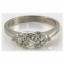 Genuine 1.25 ctw Diamond Three Stone Ring 14KT White Gold H, SI2/SI3 - L15322
