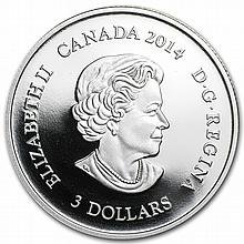 2014 1/4 oz Silver Proof Canadian $3 Jewel of Life with gilding - L29324
