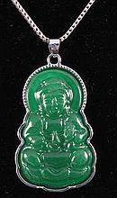 NATURAL 40.92CTW JADE BUDDHA SILVER PLATED PENDANT - L19628