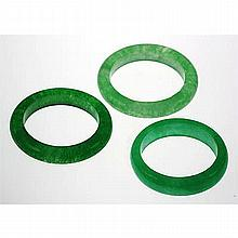Natural Simple Green Jade 63.85ctw Band Ring Lot of 3 - L22044