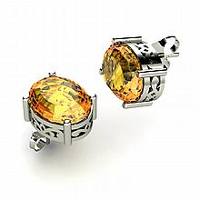 Citrine 3.50ctw Earring 14kt White Gold - L11119